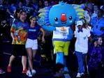 Games mascot, Borobi, enters the stadium before the start of the closing ceremony of the XXI Commonwealth Games on the Gold Coast. (AAP Image/Dan Peled)
