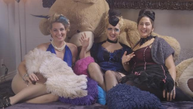 These women embrace their love for burlesque costumes and giant teddies. Picture: New York Post