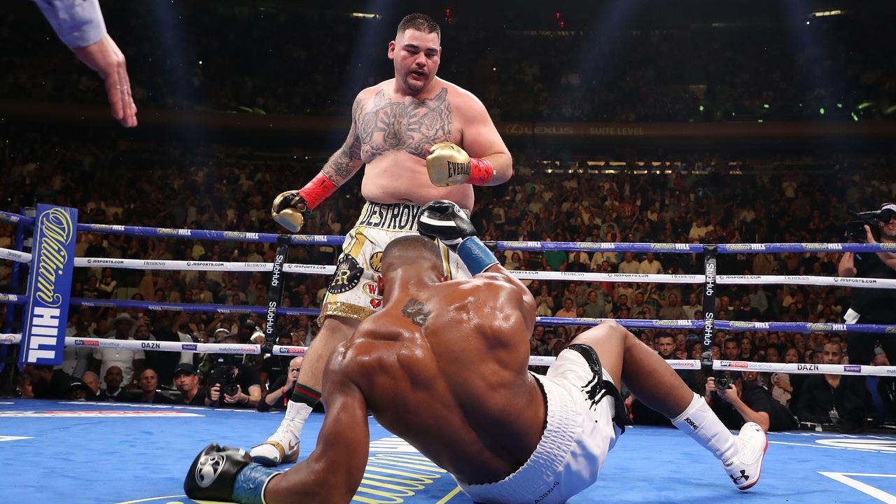 Ruiz Jr knocked down Anthony Joshua three times before the referee called the fight off in the seventh round. Al Bello/Getty Images/AFP.