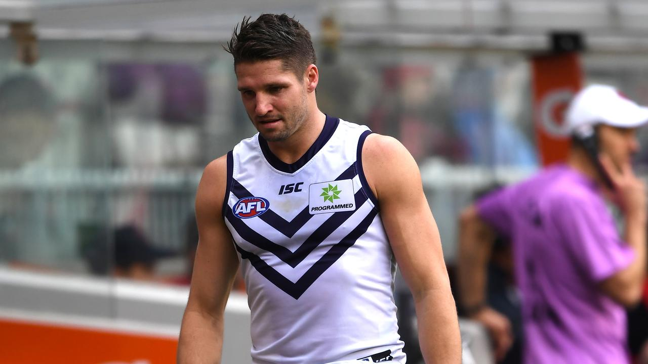 Jesse Hogan of the Dockers injured his foot against Melbourne.
