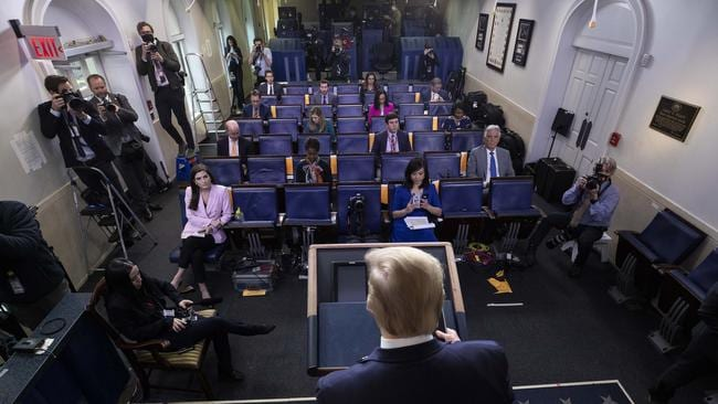 The briefings often go beyond an hour and feature combative exchanges between the President and reporters. Picture: AP/Alex Brandon