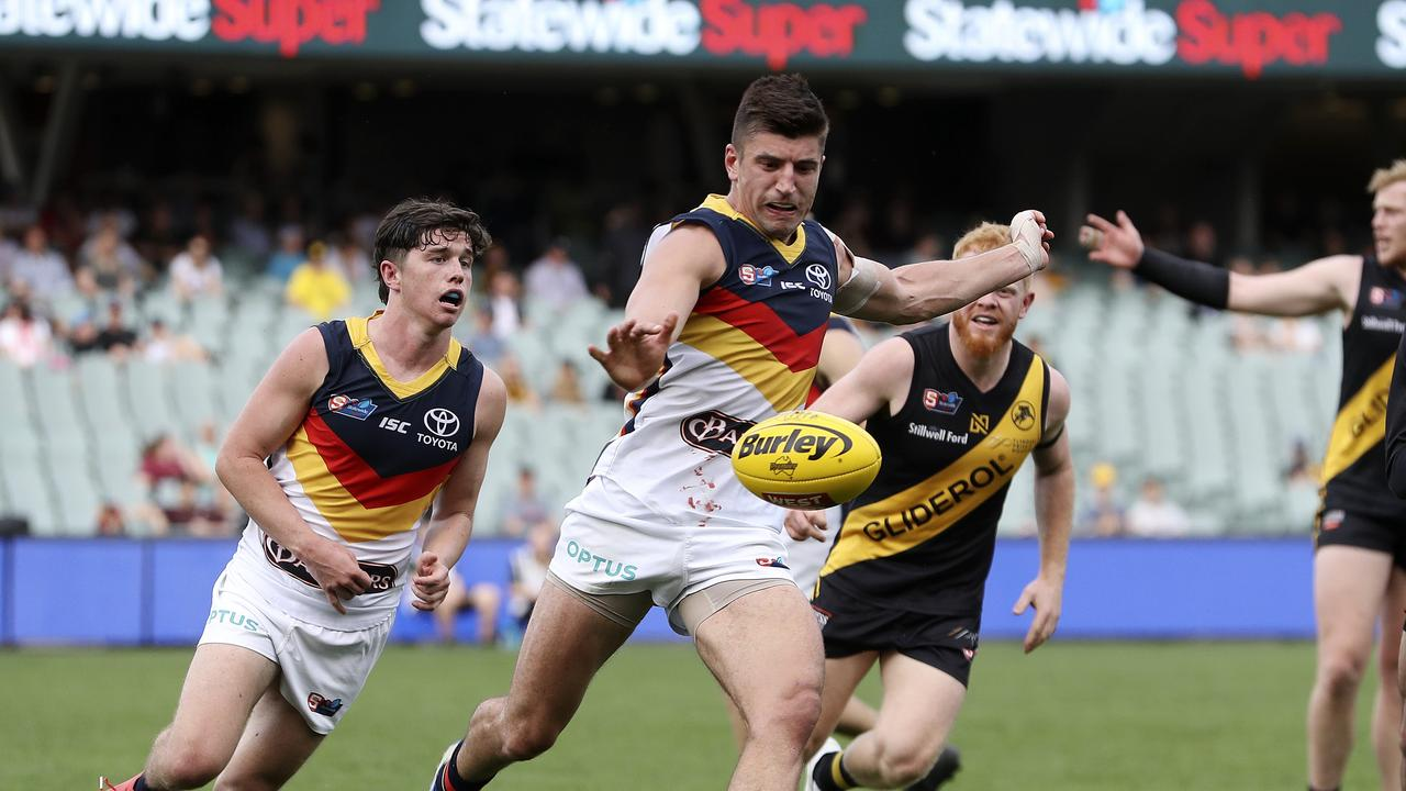 SANFL – PRELIMINARY FINAL – Glenelg v Adelaide Crows at Adelaide Oval. Patrick Wilson gets his kick away Picture SARAH REED