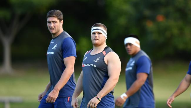 Tom Robertson (centre) during Wallabies training at Ballymore in Brisbane.