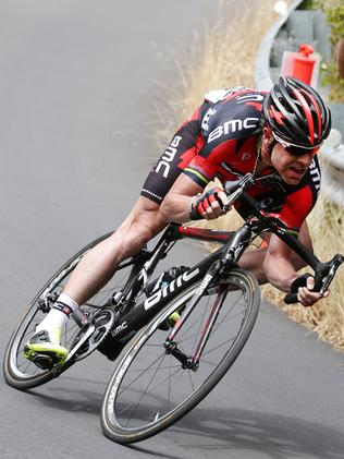 Tour de France winner Cadel Evans on the decent of the Corkscrew during the 2013 Tour Down Under. Picture: Sarah Reed