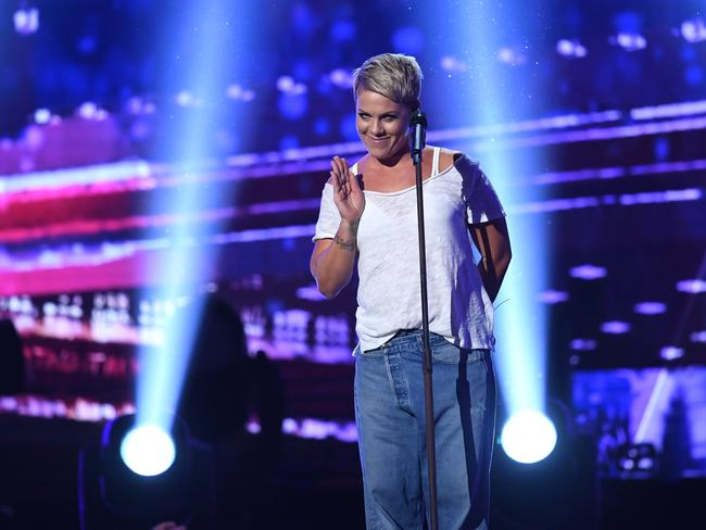 Recording artist Pink performs onstage during the 60th Annual GRAMMY Awards. Picture: AP