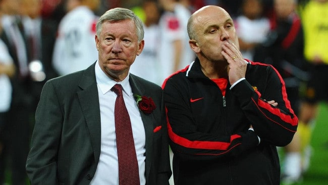 Mike Phelan (right) pictured with Sir Alex Ferguson.