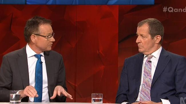 Nick Cater (left) and Alistair Campbell locked horns over the issue of Donald Trump and racism. Picture: QandA.
