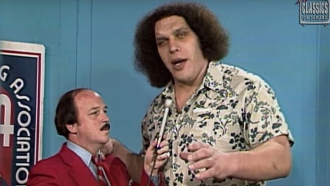 WWE host 'Mean' Gene Okerlund with Andre the Giant.