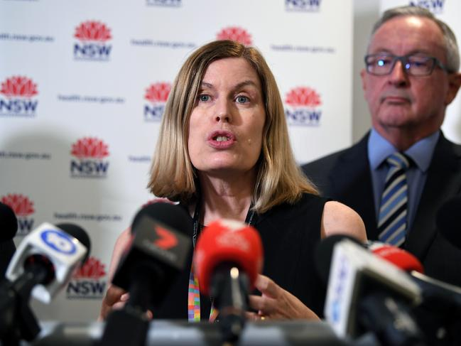 NSW Health Minister Brad Hazzard (right) and NSW Chief Health Officer Dr Kerry Chant speak to the media today. Picture: Joel Carrett/AAP