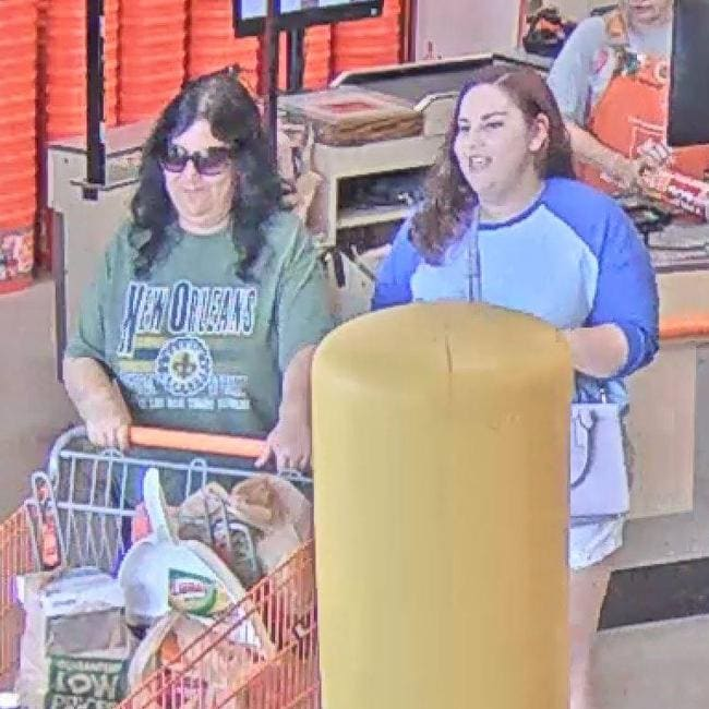 Footage of a 'wedding crasher' spending a stolen gift card has been released to help track the suspect down. Picture: Facebook / Comal County Sheriff's Office