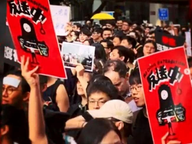 Baduciao's artwork has featured on placards in Hong Kong protests. Picture: Channel 10