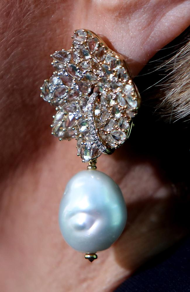 Julie Bishop's statement pearl earrings. Picture: Kym Smith