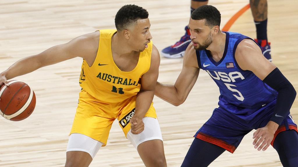 Australian Dante Exum being guarded by Team USA's Zach LaVine. Picture: Ethan Miller/Getty Images