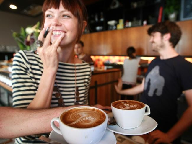 Baristas Sienna Wells and Charles Cameron at their Single Origin Roasters cafe in Surry Hills, Sydney, NSW.