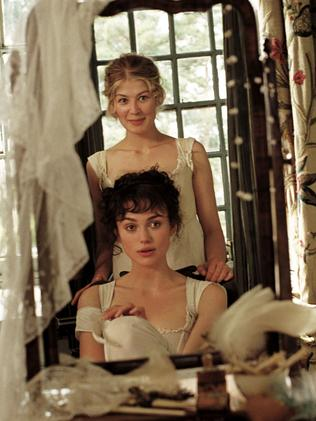 Period part ... Rosamund Pike with Keira Knightley in a scene from Pride and Prejudice. Picture: Supplied