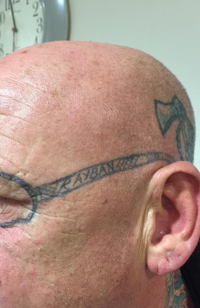 Regrets ... A stag weekend reveller from Swansea was left with lasting memories of a trip to Blackpool when he woke up to find a tattoo of a pair of Ray-Ban sunglasses on his face. Picture: Australscope