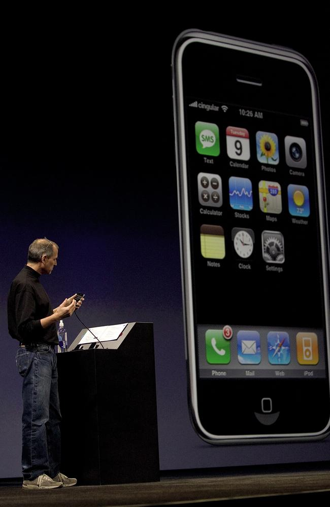 Apple co-founder Steve Jobs launching the first iPhone, which went on sale in the US on June 29, 2007.
