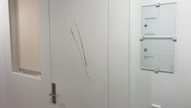 Blood smeared on the door of Pauline Hanson's office.