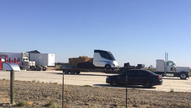The photo purported to show Tesla's forthcoming electric semi trailer.