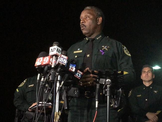 Orange County Sheriff Jerry Demings speaks at a news conference about a two-year-old boy who was dragged into the water by an alligator on the shores of Disney's Grand Floridian Resort & Spa Tuesday night in Orlando. Picture: Christal Hayes/Orlando Sentinel