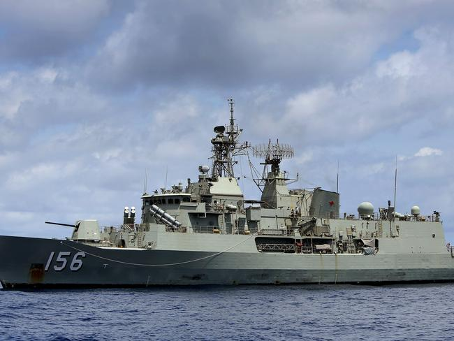 HMAS Toowoomba (pictured) and the other two Australian navy ships were travelling through the contested South China Sea on their way to Vietnam. Picture: Supplied