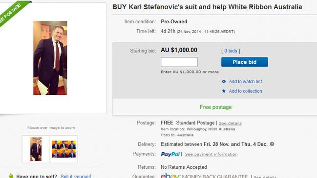Karl is auctioning off his world-famous blue suit to raise money for White Ribbon.