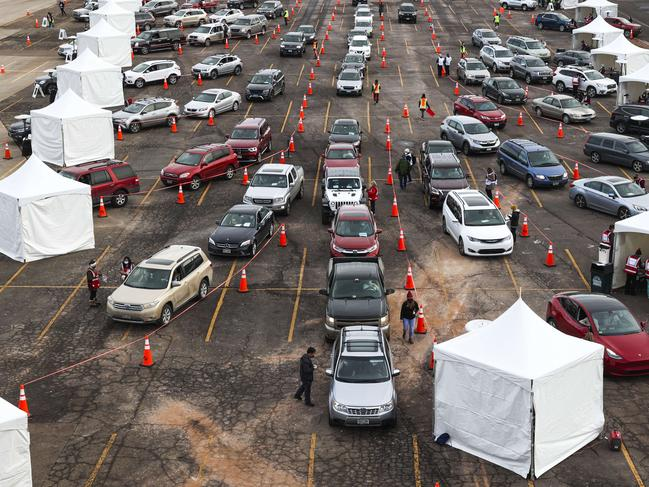 People drive their cars to medical tents at a mass COVID-19 vaccination event on January 30, 2021 in Denver, Colorado. Picture: Michael Ciaglo/Getty Images/AFP