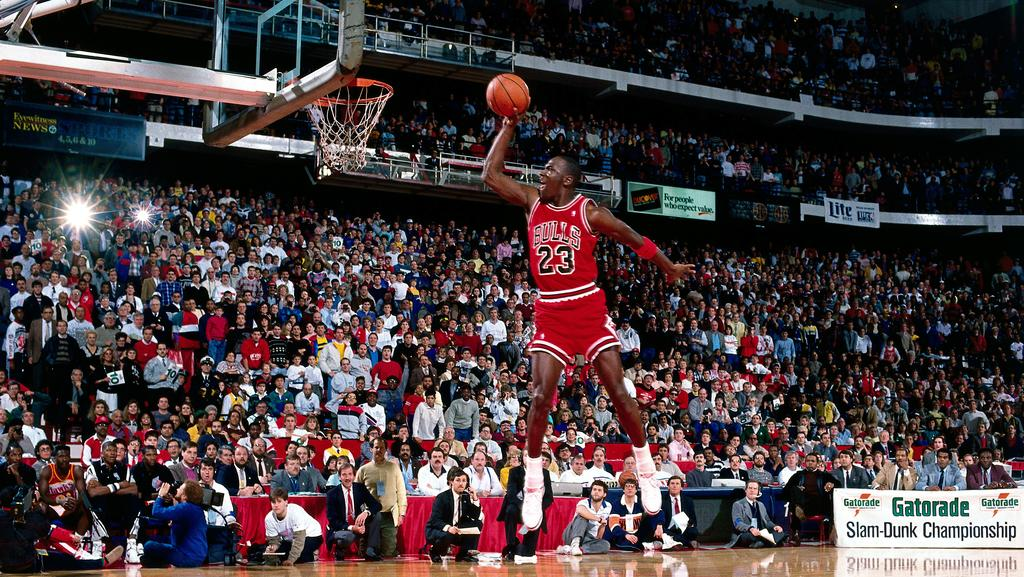 576b28cea6da Michael Jordan  23 of the Chicago Bulls goes for a dunk during the 1988 NBA