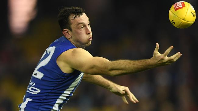 Todd Goldstein of the Kangaroos is seen in action during the Round 13 AFL match between the North Melbourne Kangaroos and the St. Kilda Saints at Etihad Stadium in Melbourne, Friday, June 16, 2017. (AAP Image/Julian Smith) NO ARCHIVING, EDITORIAL USE ONLY