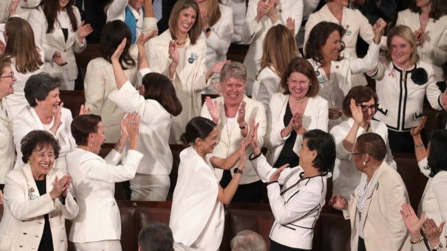 A wave of white at the State of the Union in the US. Image: Getty.