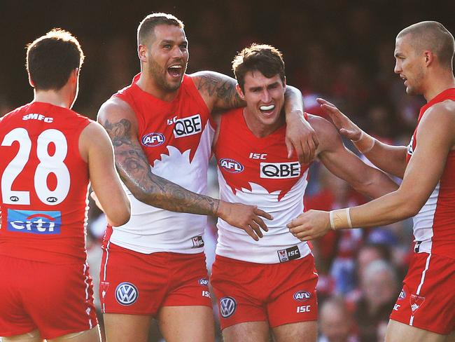 Lance Franklin celebrates a goal with Dean Towers. Picture. Phil Hillyard