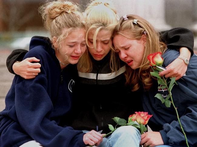 Columbine students in the aftermath of the shooting. Picture: AP Photo/Laura Rauch, File