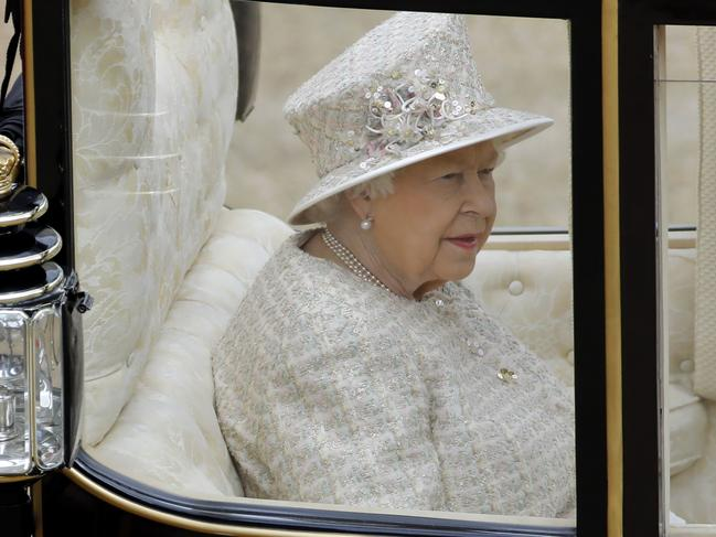 The Queen arrives in a horse-drawn carriage ahead of her Birthday Parade. Picture: AFP