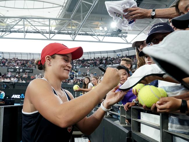 Ash Barty greets her fans after Sunday's match