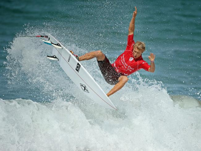 Hawaiian surfer Tanner Hendrickson competing in Manly. Picture: Troy Snook