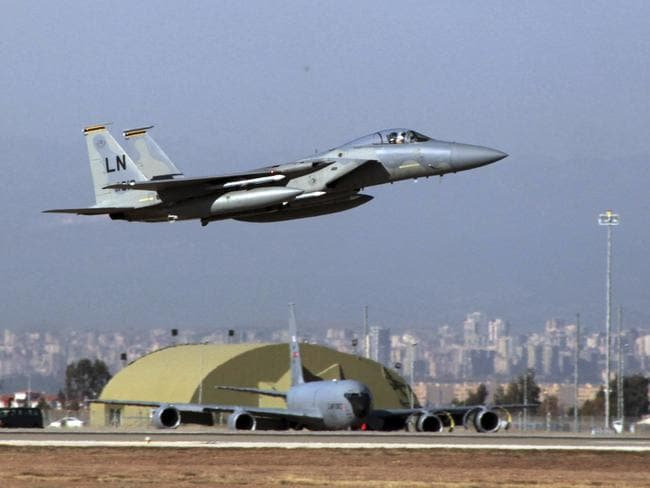 A U. S. Air Force F-15 fighter jet takes off from Incirlik Air Base near Adana, Turkey.