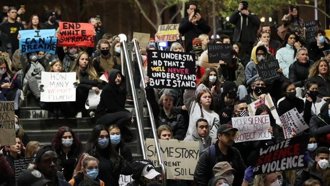 Protesters in Martin Place in Sydney on Tuesday Picture: Jonathan Ng