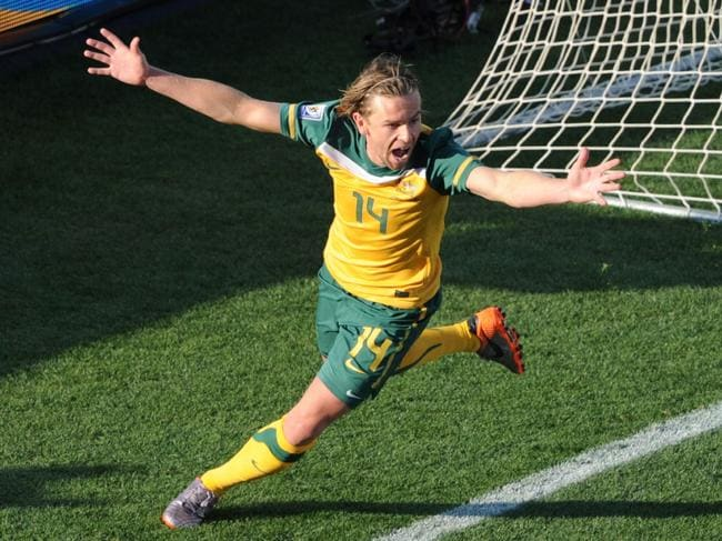 Holman scores for Australia at the 2010 World Cup.
