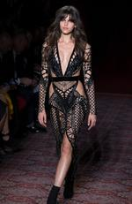 New Zealand model Georgia Fowler walks the runway at the Julien Macdonald show during the London Fashion Week February 2017 collections on February 18, 2017 in London, England. Picture: AFP