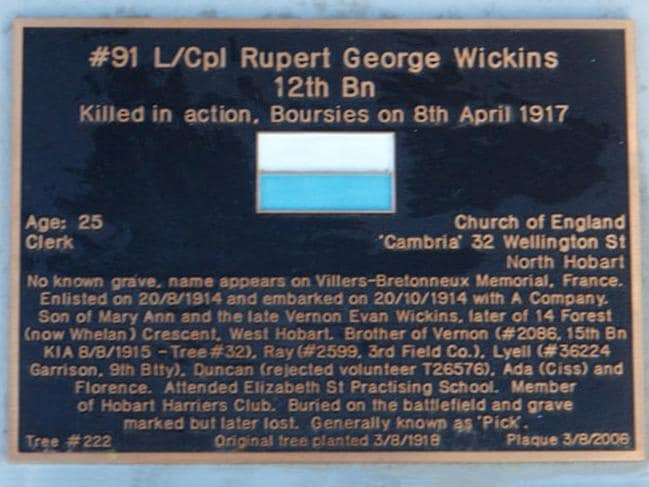 Rupert Wickins' plaque on the Soldiers' Memorial Avenue.