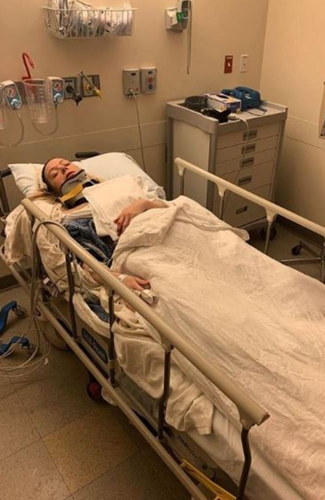 "Adrianne Haslet shared this image alongside the caption ""I'm completely broken"" to her Instagram page after being struck by a car."