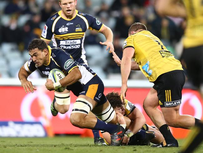 The Brumbies' Blake Enever is tackled during their victory over the Hurricanes. Pic: Getty