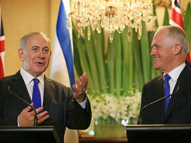 Mr Netanyahu (L) is the first Israeli Prime Minister to visit Australia. Picture: Toby Zerna