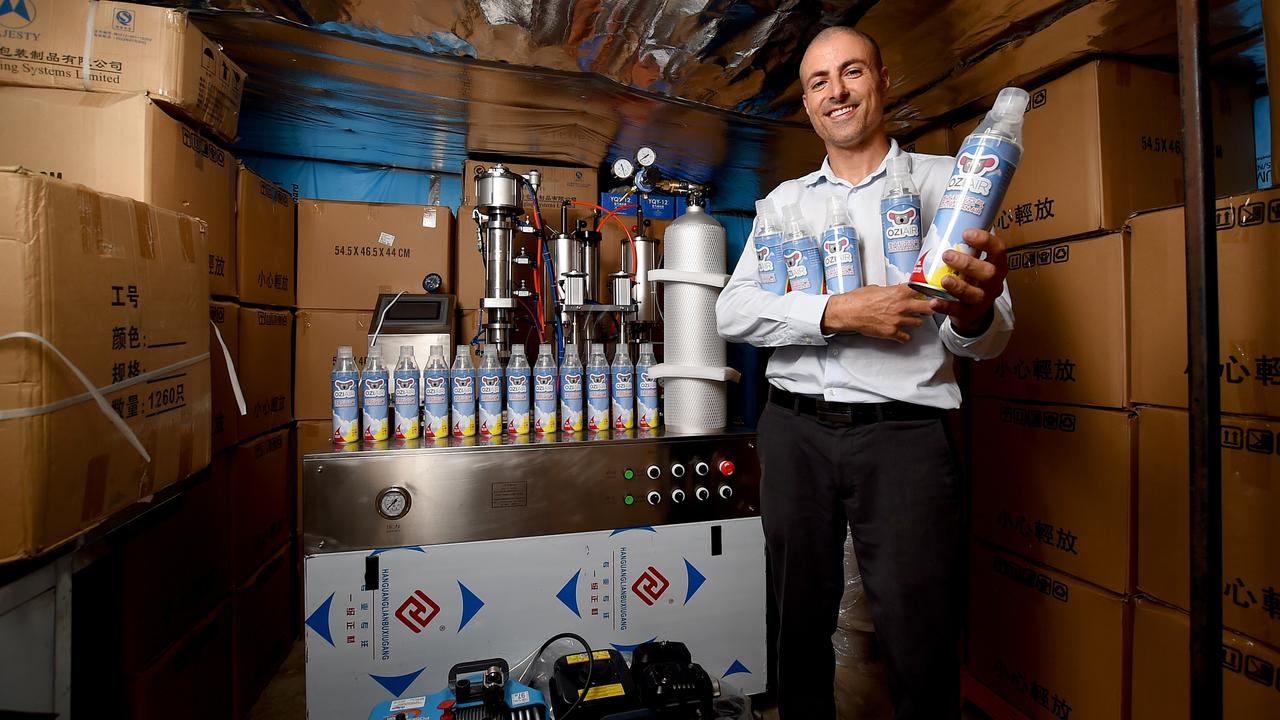 Joe Duchiera, founder of Ozi Air, in his garage, from which he runs his new business. Picture: Naomi Jellicoe