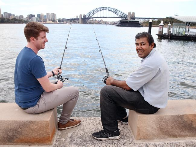 Daniel Singh (right) has stayed out of acute mental health care hospitals for the past two years because of help from Flourish Australia support worker Ciaran Mahony. Picture: Sam Ruttyn