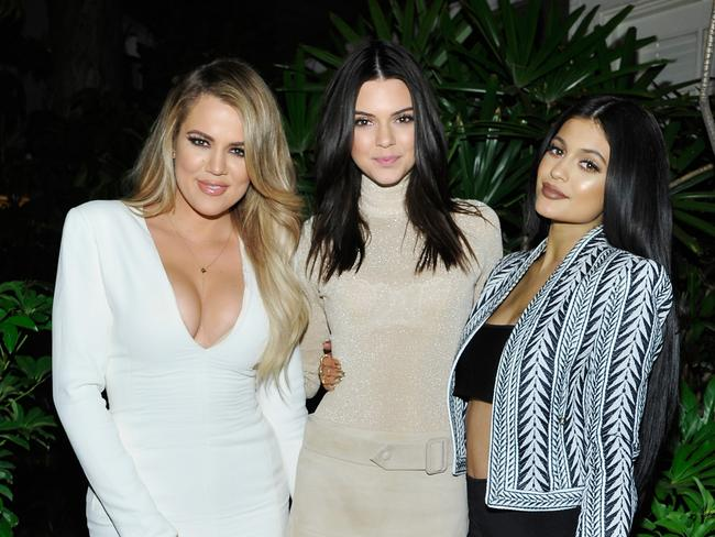 Kendall Jenner with sisters Khloe and Kylie. Picture: John Sciulli/Getty Images for Calvin Klein