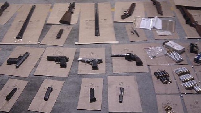 The deadly arsenal seized by police in a raid on the violent drug gang DLASTHR which is making Fairfield a dangerous place to live. Picture: NSW Police