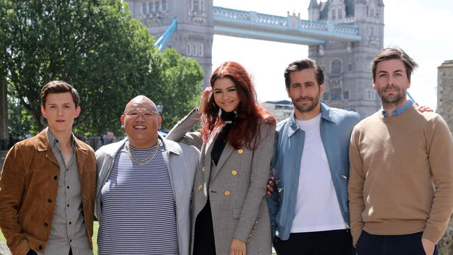Jon Watts with his Spider-Man stars Tom Holland, Jacob Batalon, Zendaya and Jake Gyllenhaal Picture: Isabel Infantes/AFP