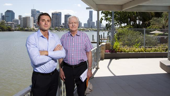 Ben Seymour and Kevin Seymour at 39 Griffith St, New Farm. Image: AAP/Attila Csaszar.