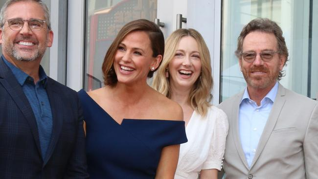 Steve Carell, Jennifer Garner, Judy Greer and Bryan Cranston during the Hollywood Walk of Fame honours for Garner. Picture: @parisamichelle TheMegaAgency.com